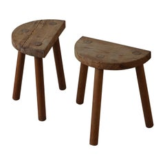 Pair of Vintage Scandinavian Modern Solid Wooden Stools