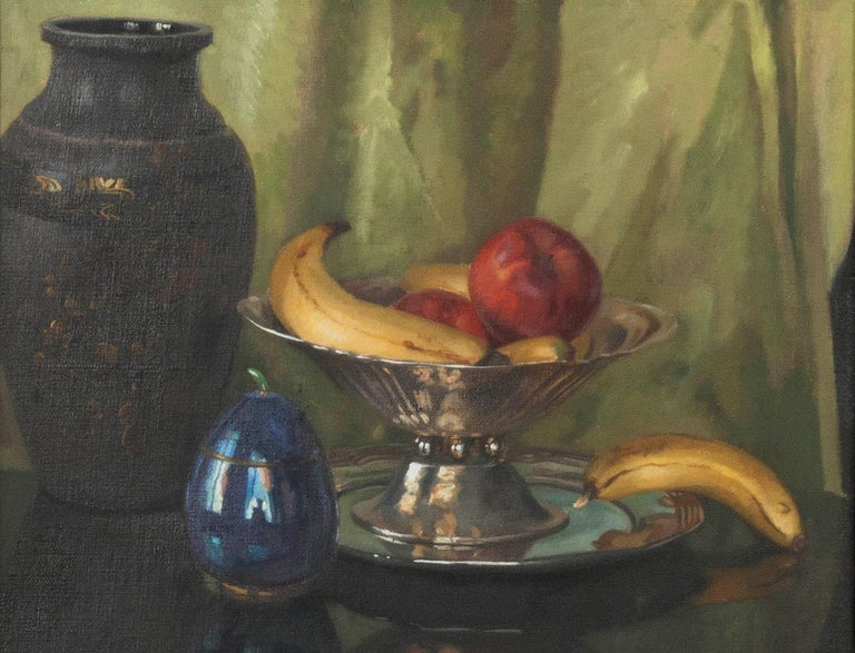 Pair of Oil Paintings, Still Life with Fruit by Eddy Passauro, Dated 1932 For Sale 3