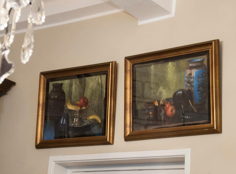 Pair of Oil Paintings, Still Life with Fruit by Eddy Passauro, Dated 1932 For Sale 12