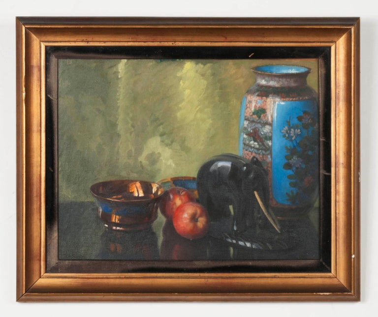 Atmospheric paintings, oil on board, made by Eddy (Edmond) Passauro. The works were made clear by a skilled painter, for example, pay attention to the reflection of the vases and the way in which the silver bowl was painted. The composition has