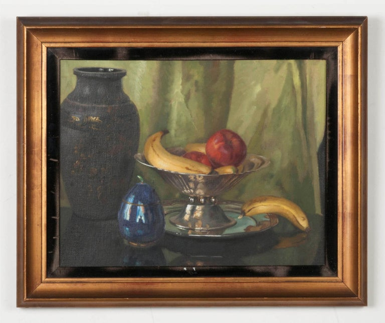 Belle Époque Pair of Oil Paintings, Still Life with Fruit by Eddy Passauro, Dated 1932 For Sale
