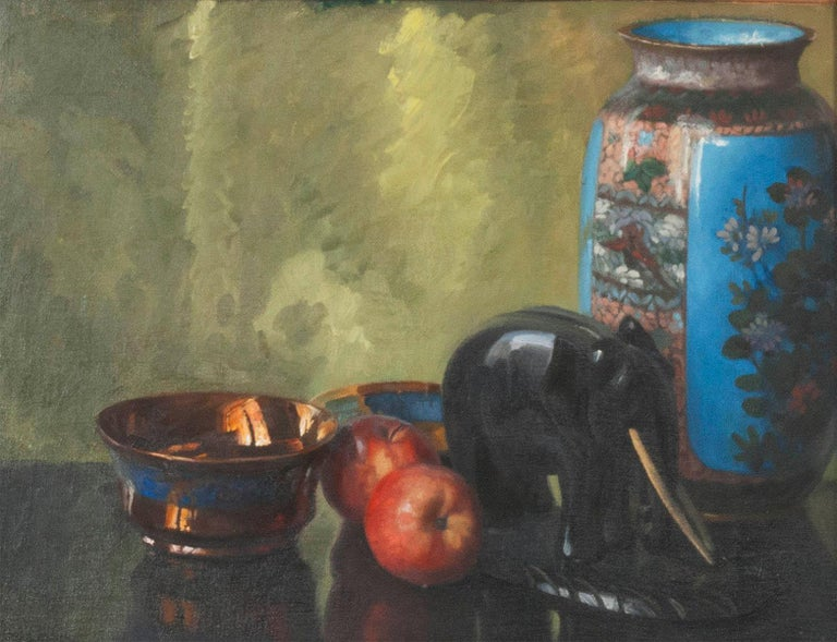 French Pair of Oil Paintings, Still Life with Fruit by Eddy Passauro, Dated 1932 For Sale