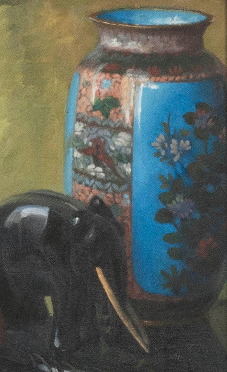 Hand-Painted Pair of Oil Paintings, Still Life with Fruit by Eddy Passauro, Dated 1932 For Sale