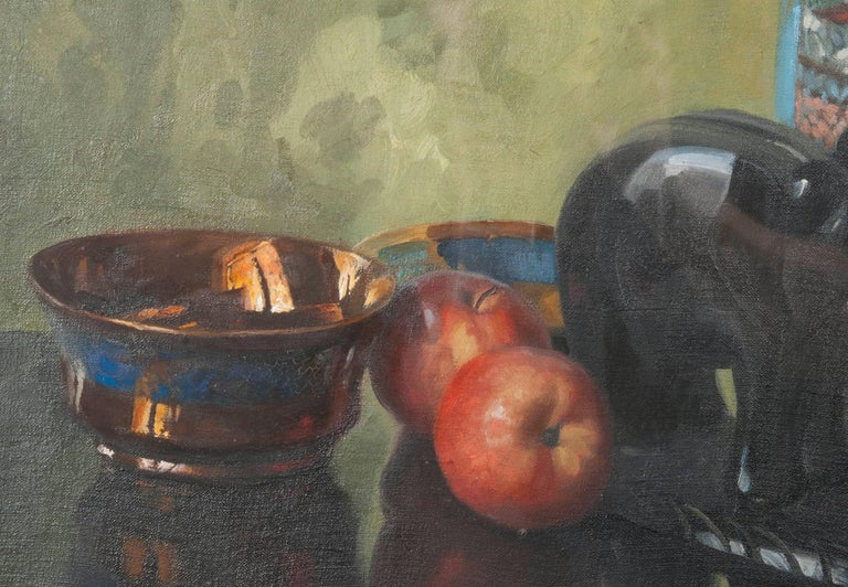 20th Century Pair of Oil Paintings, Still Life with Fruit by Eddy Passauro, Dated 1932 For Sale