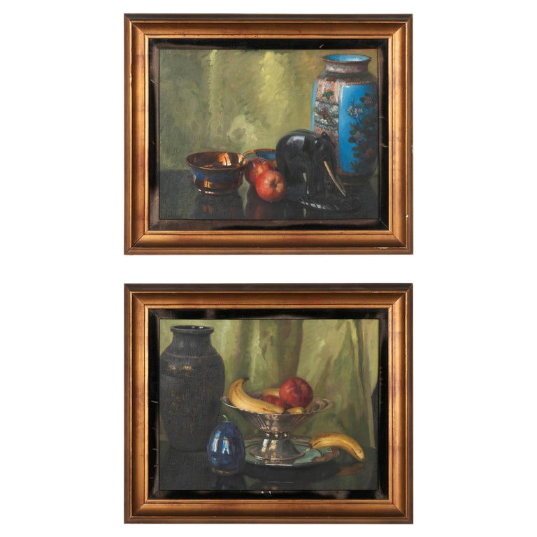 Pair of Oil Paintings, Still Life with Fruit by Eddy Passauro, Dated 1932 For Sale