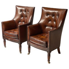 Pair of Regency Style Studded Tan Brown Leather Upholstered Library Armchairs