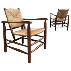"Pair Solid Ashwood and Straw ""Bauche"" Armchairs by Charlotte Perriand"