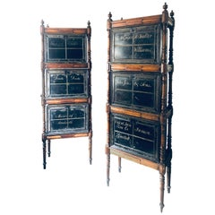 Pair Victorian Oak Deed Box Stands with Deed Boxes