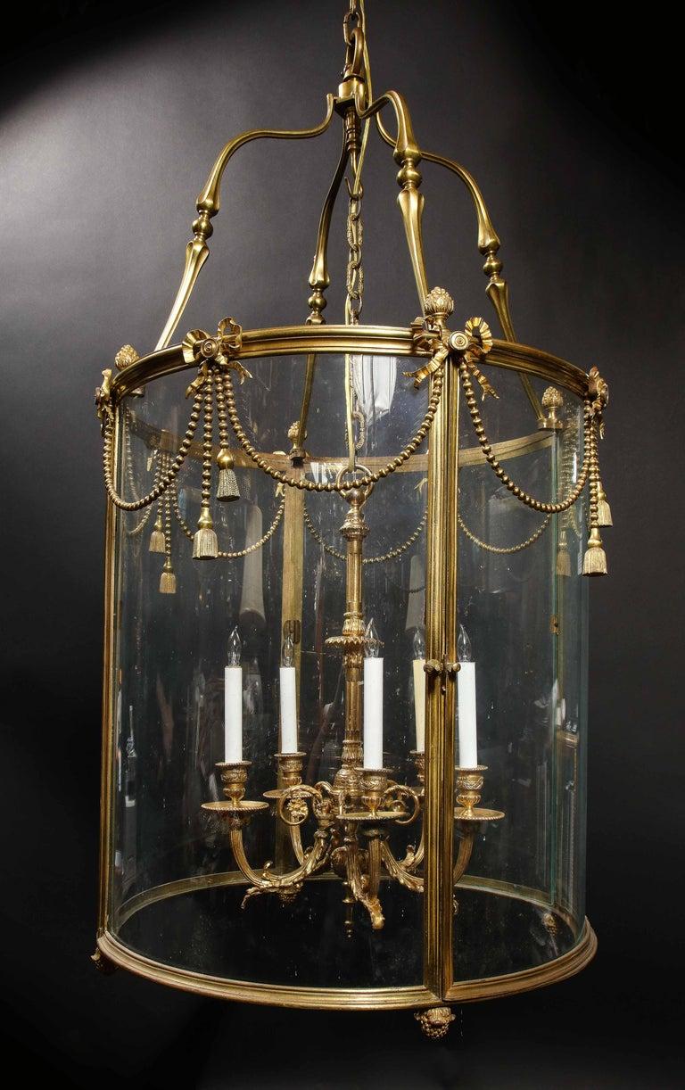 Palatial and Massive Antique French Louis XVI Multi Light Gilt Bronze Lantern For Sale 8