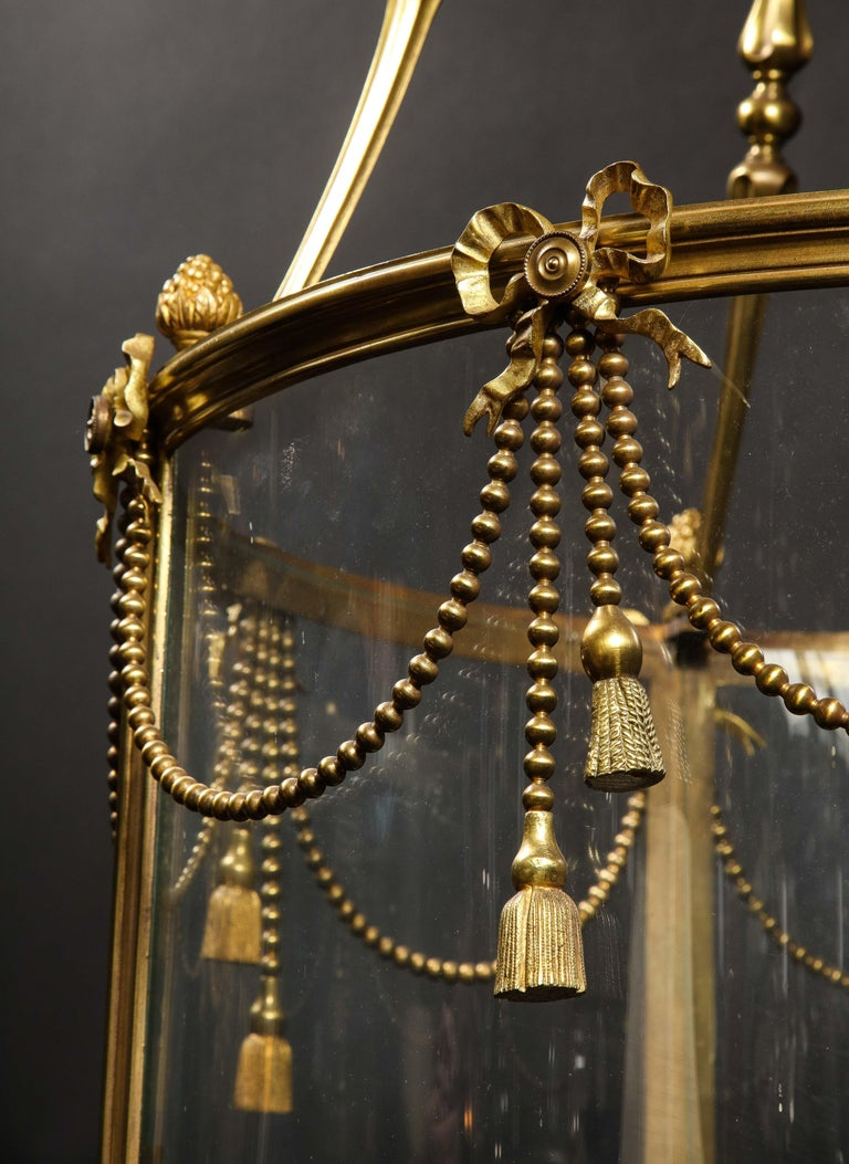 Palatial and Massive Antique French Louis XVI Multi Light Gilt Bronze Lantern For Sale 9