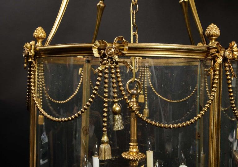 Palatial and Massive Antique French Louis XVI Multi Light Gilt Bronze Lantern For Sale 10