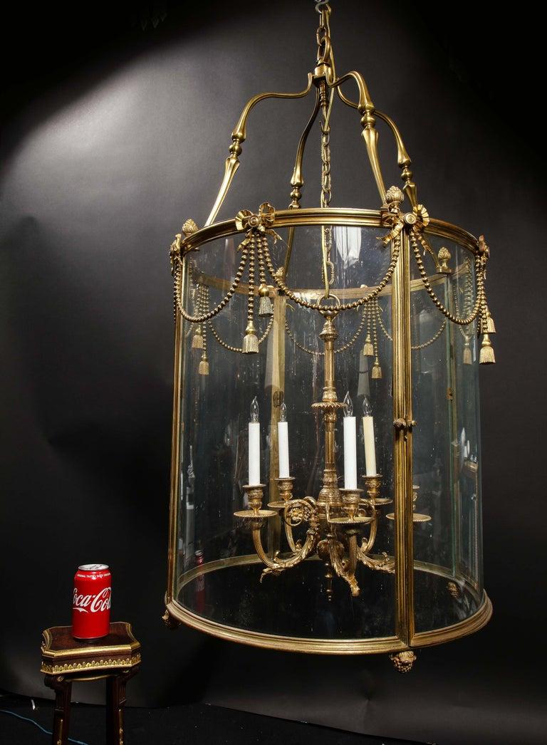 Palatial and Massive Antique French Louis XVI Multi Light Gilt Bronze Lantern For Sale 11