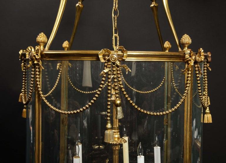 Palatial and Massive Antique French Louis XVI Multi Light Gilt Bronze Lantern For Sale 12