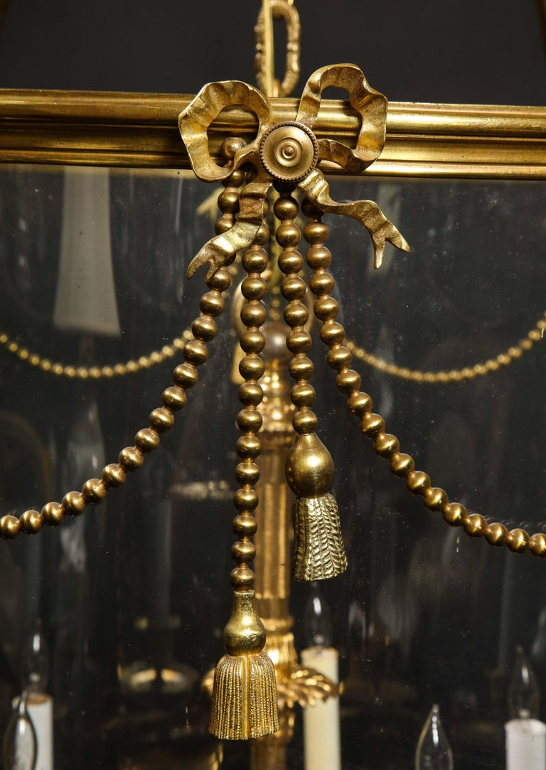 Palatial and Massive Antique French Louis XVI Multi Light Gilt Bronze Lantern For Sale 13