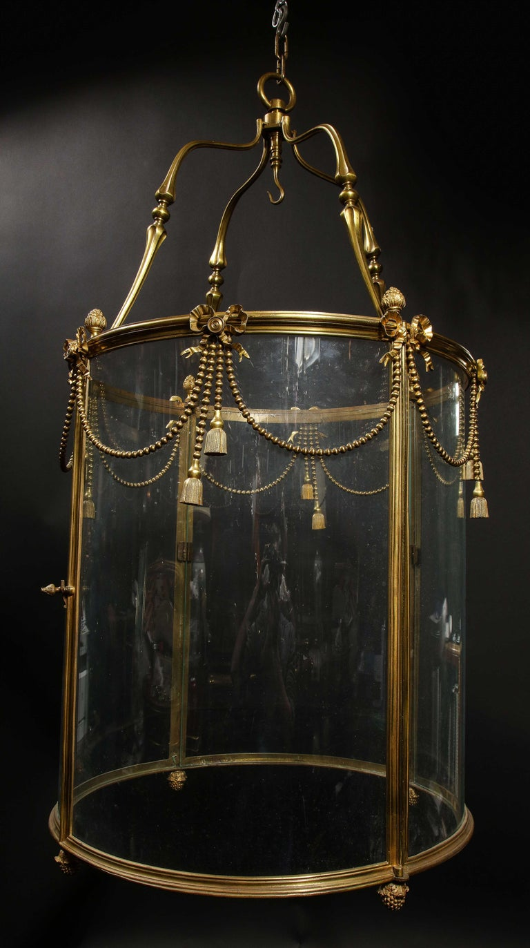 Palatial and Massive Antique French Louis XVI Multi Light Gilt Bronze Lantern For Sale 15