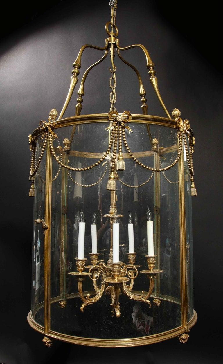 20th Century Palatial and Massive Antique French Louis XVI Multi Light Gilt Bronze Lantern For Sale