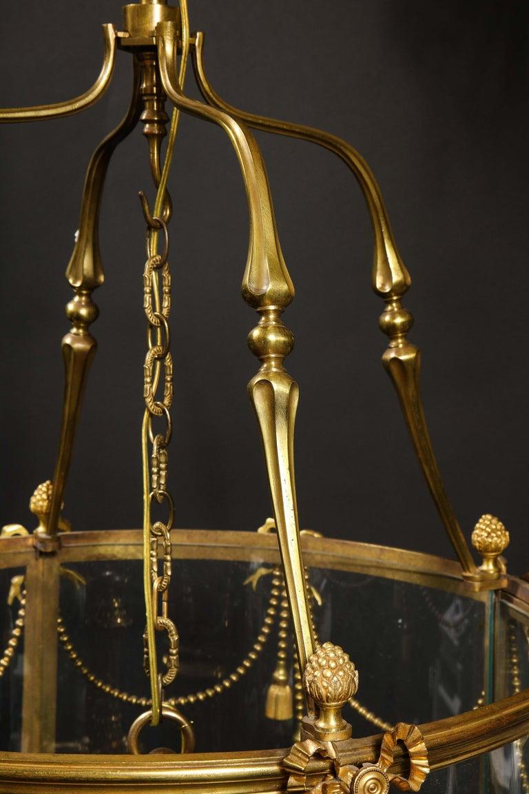 Palatial and Massive Antique French Louis XVI Multi Light Gilt Bronze Lantern For Sale 6