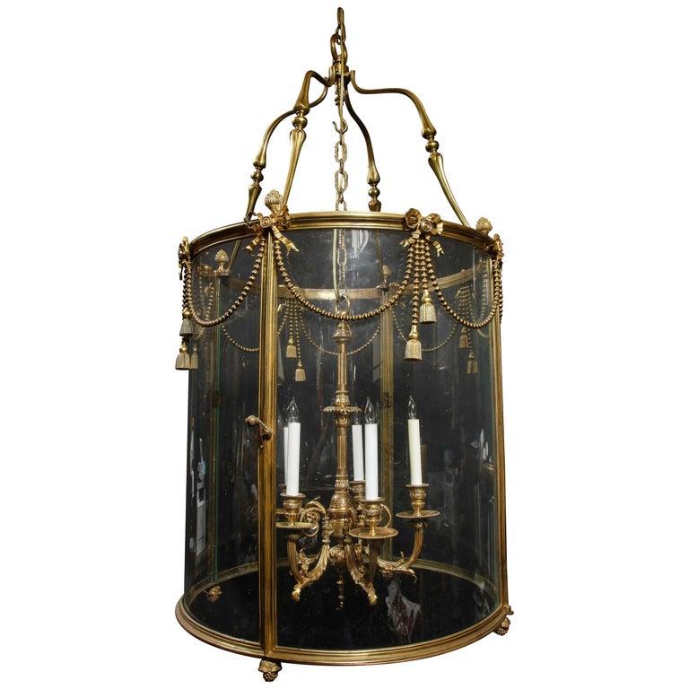 Palatial and Massive Antique French Louis XVI Multi Light Gilt Bronze Lantern For Sale