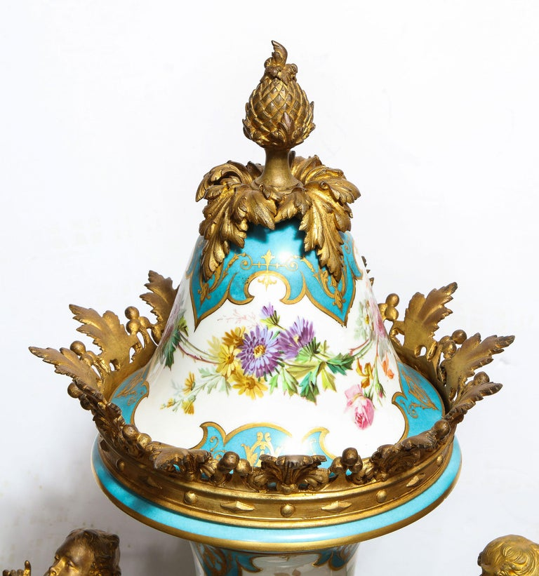 Palatial French Ormolu-Mounted Sevres Porcelain Hand-Painted Vase and Cover For Sale 4