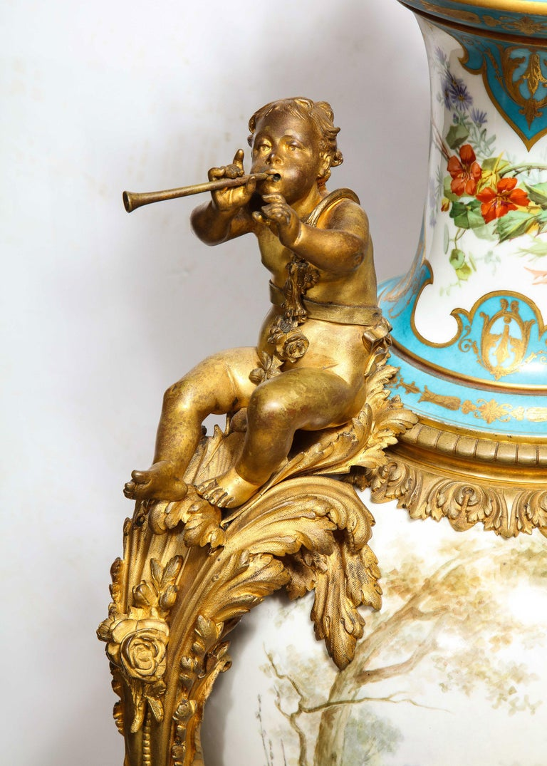 Palatial French Ormolu-Mounted Sevres Porcelain Hand-Painted Vase and Cover For Sale 5