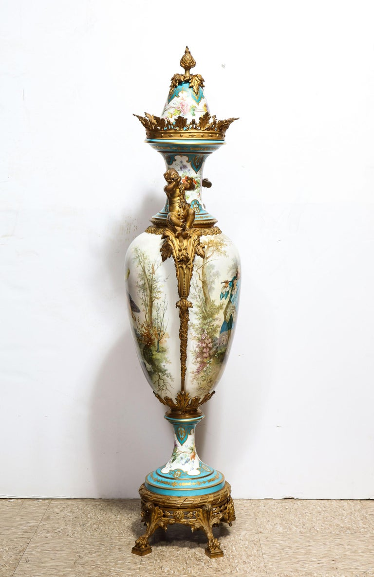 Palatial French Ormolu-Mounted Sevres Porcelain Hand-Painted Vase and Cover For Sale 6
