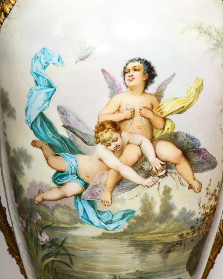 Palatial French Ormolu-Mounted Sevres Porcelain Hand-Painted Vase and Cover For Sale 9