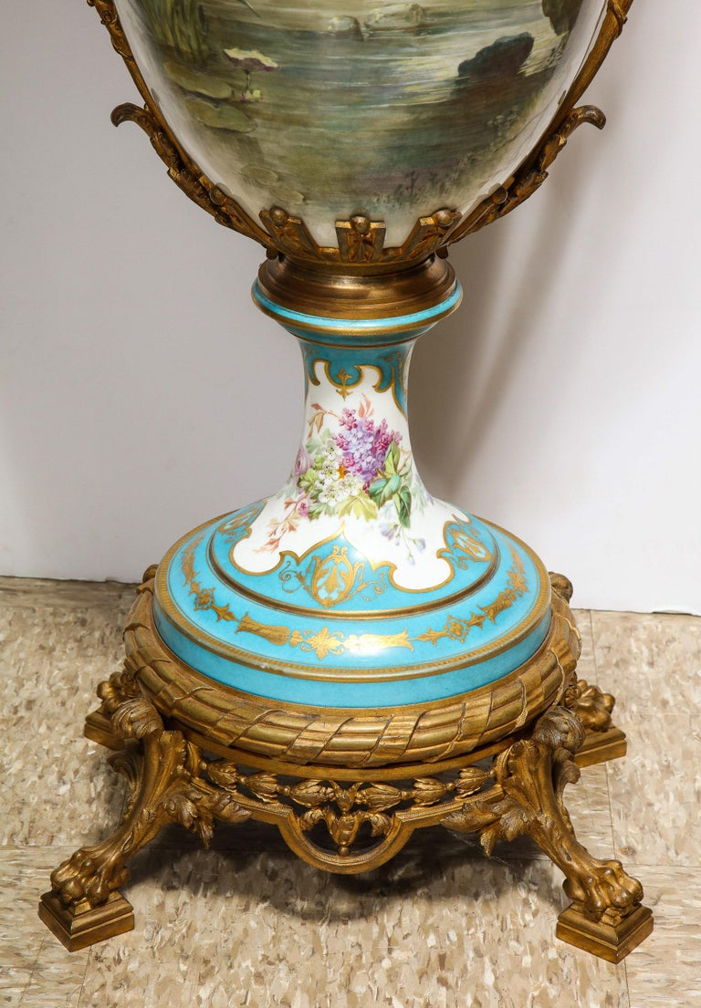Palatial French Ormolu-Mounted Sevres Porcelain Hand-Painted Vase and Cover For Sale 10