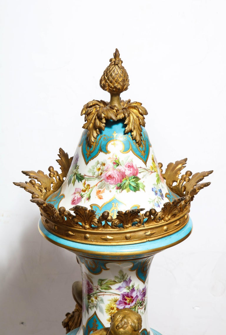 Palatial French Ormolu-Mounted Sevres Porcelain Hand-Painted Vase and Cover For Sale 12