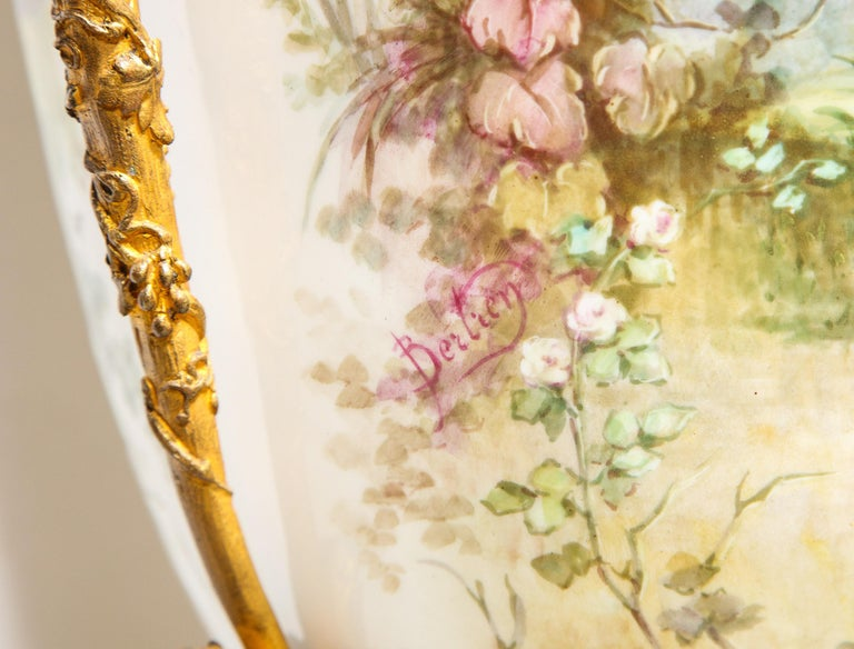 Palatial French Ormolu-Mounted Sevres Porcelain Hand-Painted Vase and Cover For Sale 14