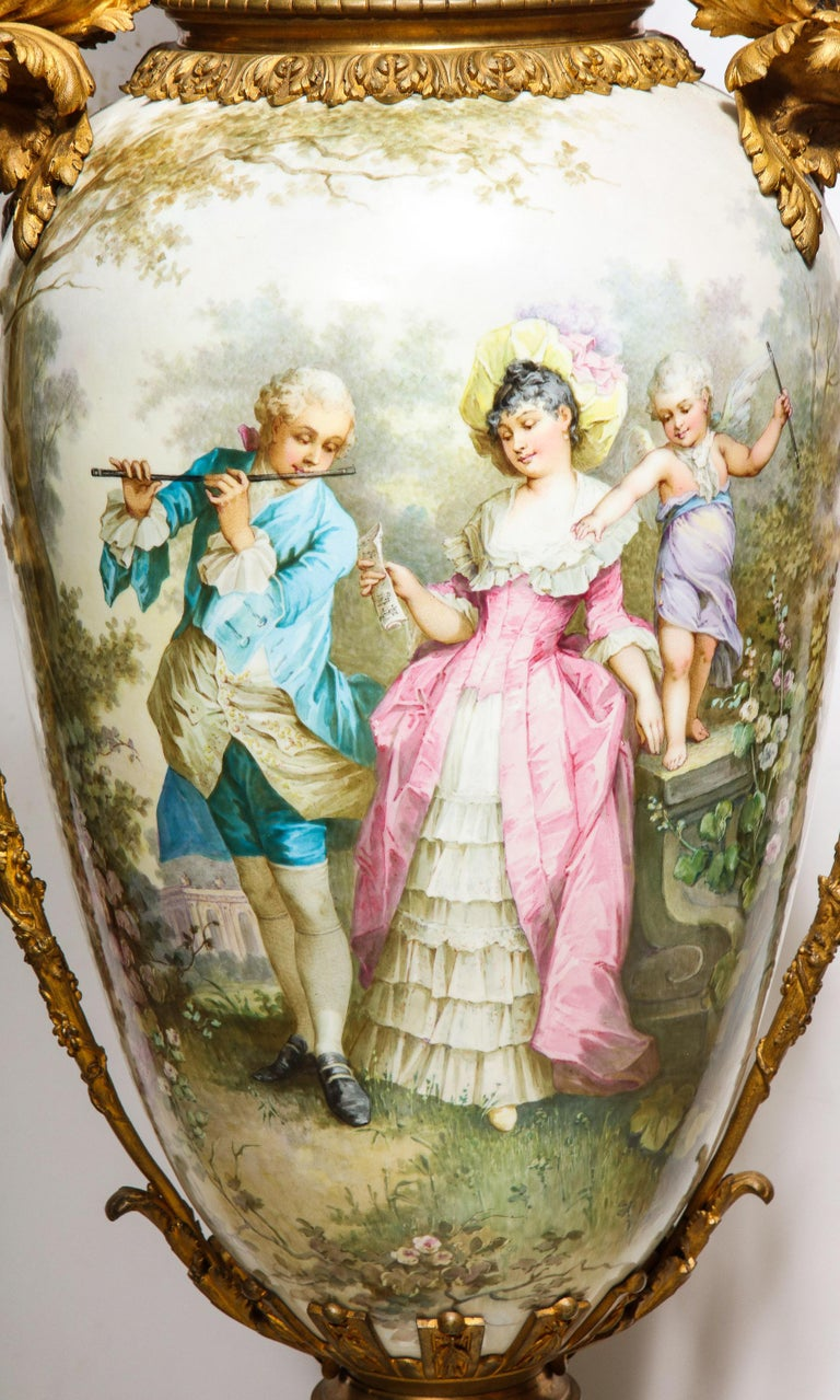 19th Century Palatial French Ormolu-Mounted Sevres Porcelain Hand-Painted Vase and Cover For Sale