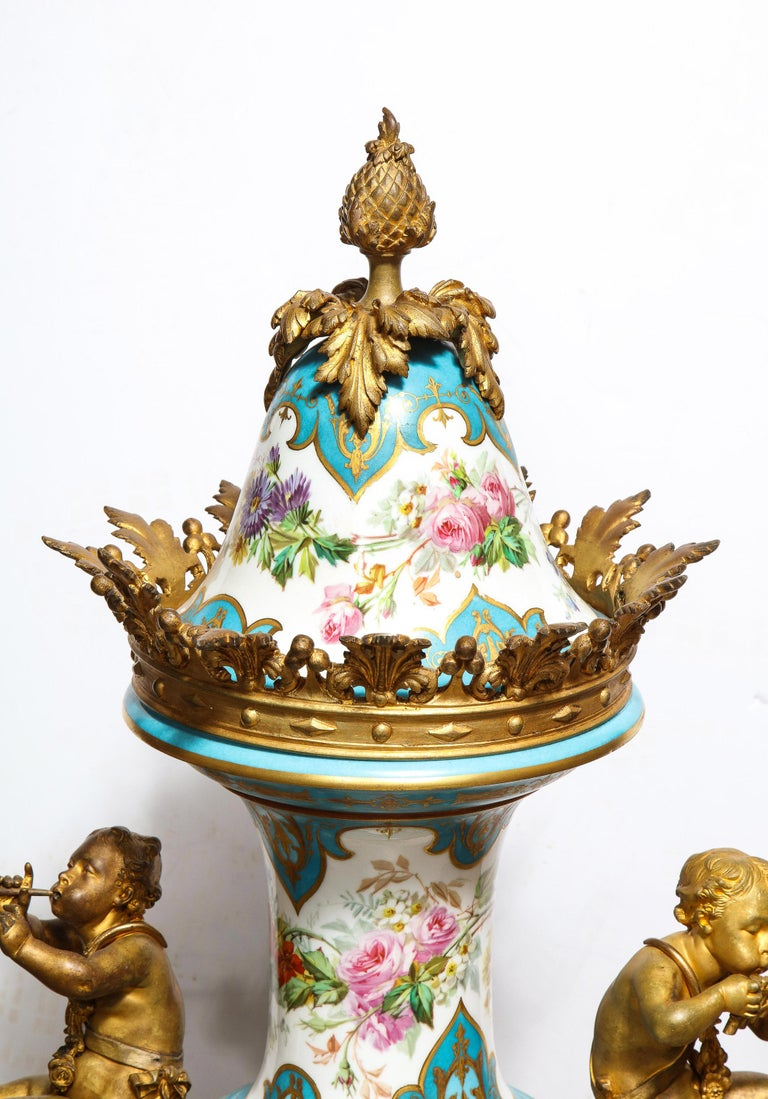 Palatial French Ormolu-Mounted Sevres Porcelain Hand-Painted Vase and Cover For Sale 2