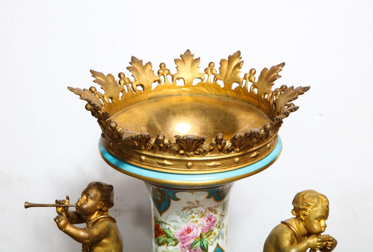 Palatial French Ormolu-Mounted Sevres Porcelain Hand-Painted Vase and Cover For Sale 3