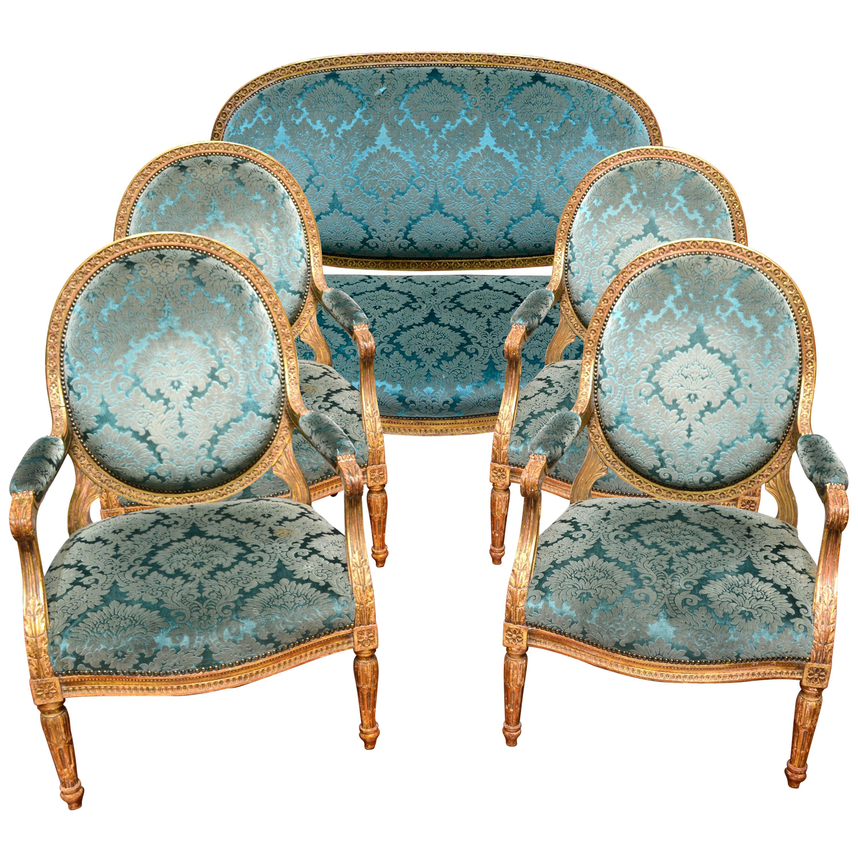 A Palatial Scale 19th Century Louis XVI Style Giltwood Salon Set