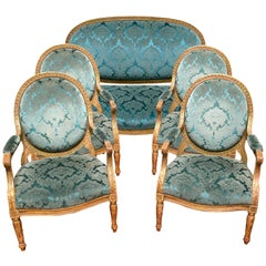 A Palatial Scale 19th Century Louis XVI Style Giltwood Salon Set