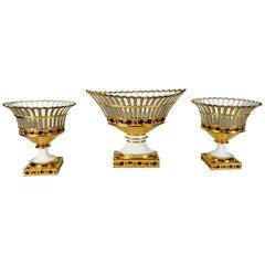 Paris Porcelain Set of Three French Antique Porcelain Baskets Made, circa 1840