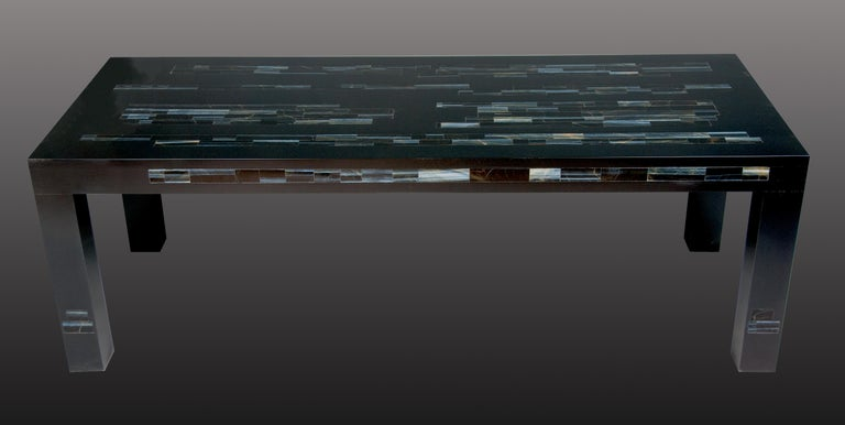 American A  Black Parson's Style Coffee Table With Inlaid Genuine Blue Tiger Eye Stone For Sale
