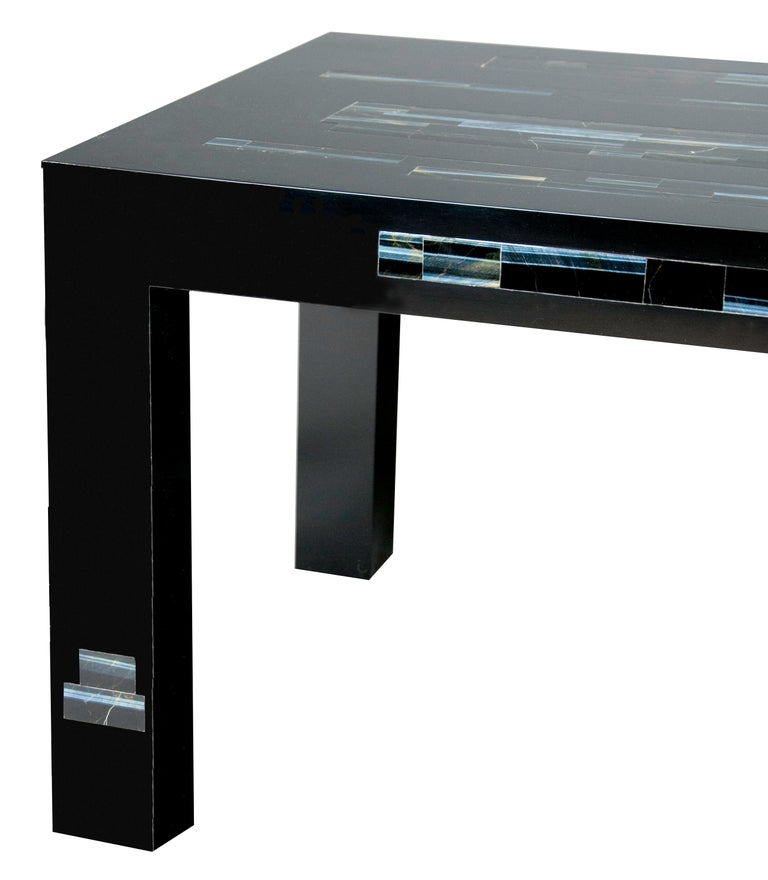 Hand-Crafted A  Black Parson's Style Coffee Table With Inlaid Genuine Blue Tiger Eye Stone For Sale