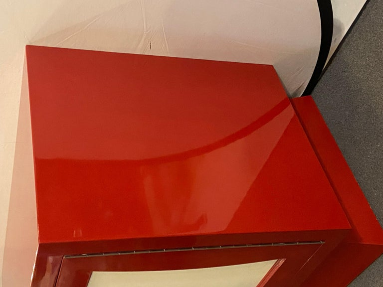 Parzinger Style Cabinet, Commode or Server Lacquered in Red and White For Sale 4