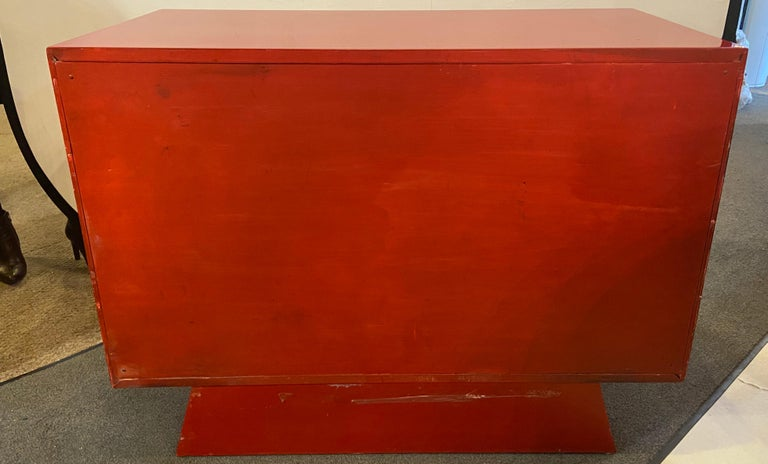 Parzinger Style Cabinet, Commode or Server Lacquered in Red and White For Sale 10