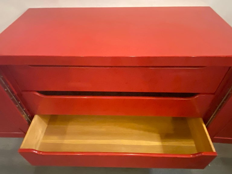 Parzinger Style Cabinet, Commode or Server Lacquered in Red and White For Sale 11