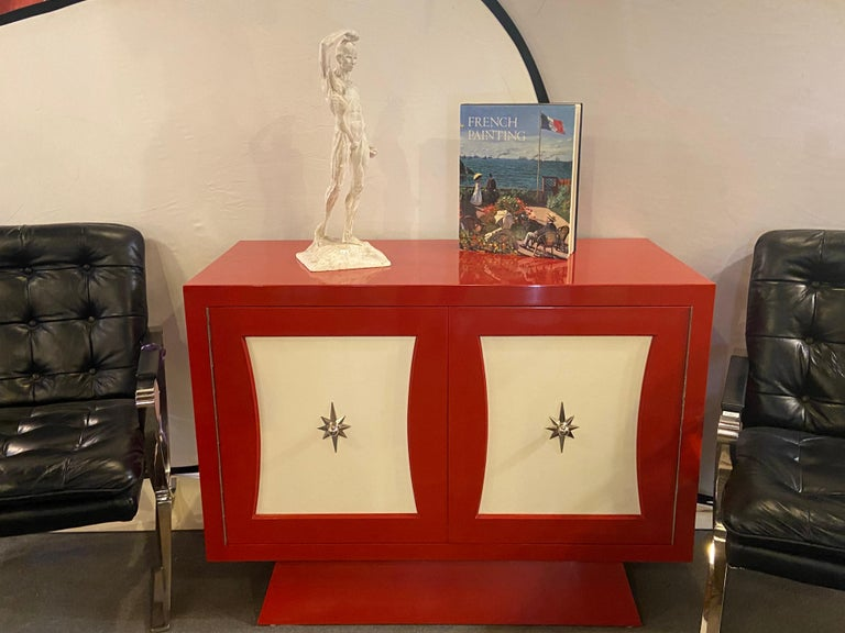 American Parzinger Style Cabinet, Commode or Server Lacquered in Red and White For Sale