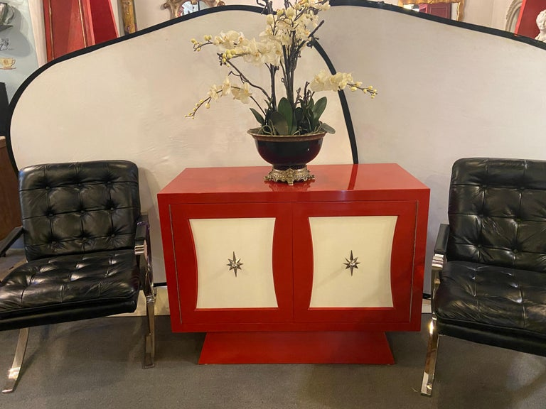 Parzinger Style Cabinet, Commode or Server Lacquered in Red and White In Good Condition For Sale In Stamford, CT