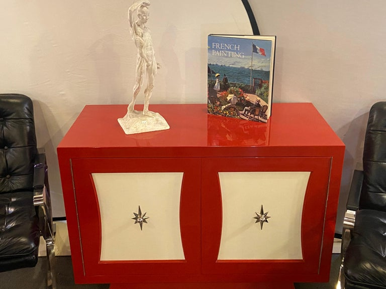 Late 20th Century Parzinger Style Cabinet, Commode or Server Lacquered in Red and White For Sale
