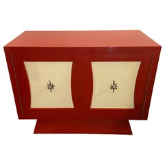 Parzinger Style Cabinet, Commode or Server Lacquered in Red and White