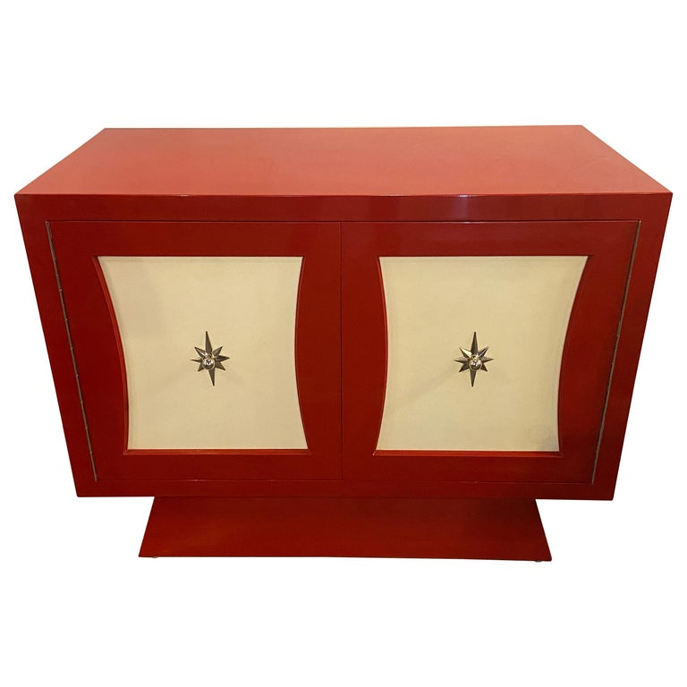 Parzinger Style Cabinet, Commode or Server Lacquered in Red and White For Sale