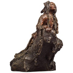 Patinated Bronze Figure of a Native American Scout by Carl Kauba, circa 1910