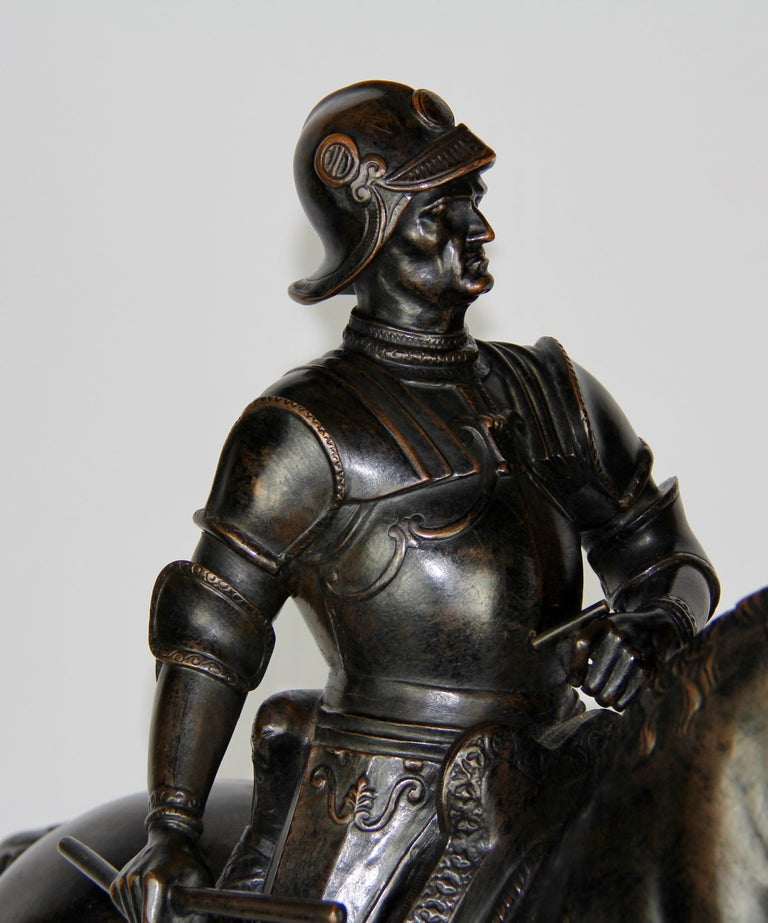 Patinated Bronze Figure of a Soldier on a Horse with a Helmet For Sale 7