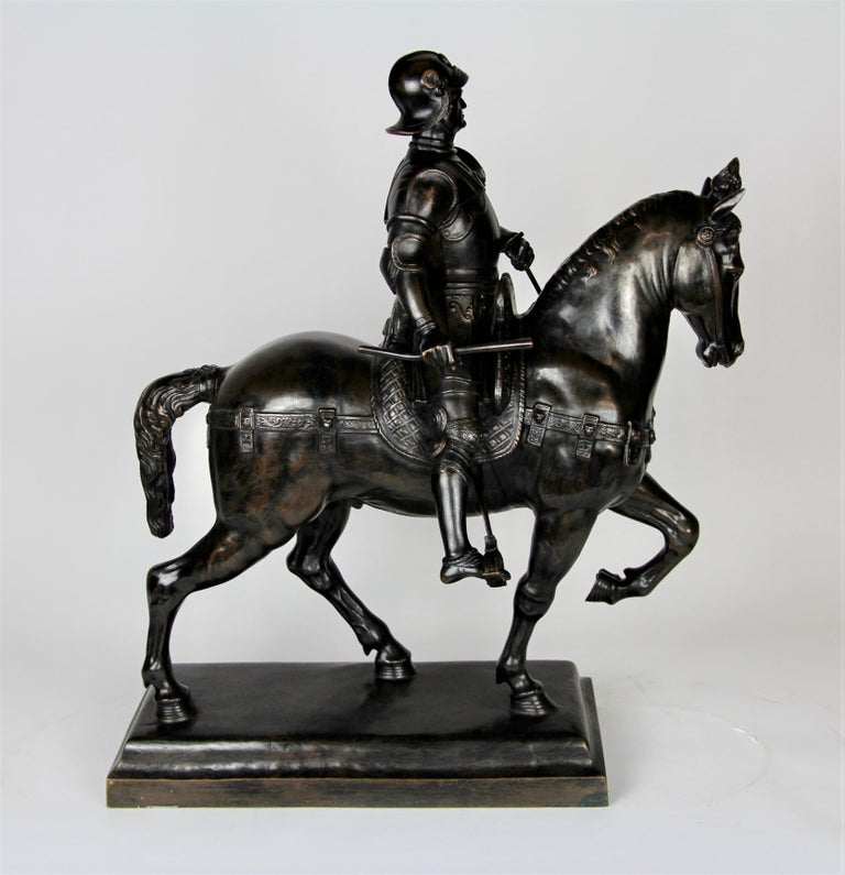 A Fabulous and Large Patinated Bronze Figure of a Soldier on a Horse. Beautifully cast and well patinated with a dark brown patina. The soldier is seen seated on a horse, beautifully modelled and hand chisseled details. Marked and signed on the