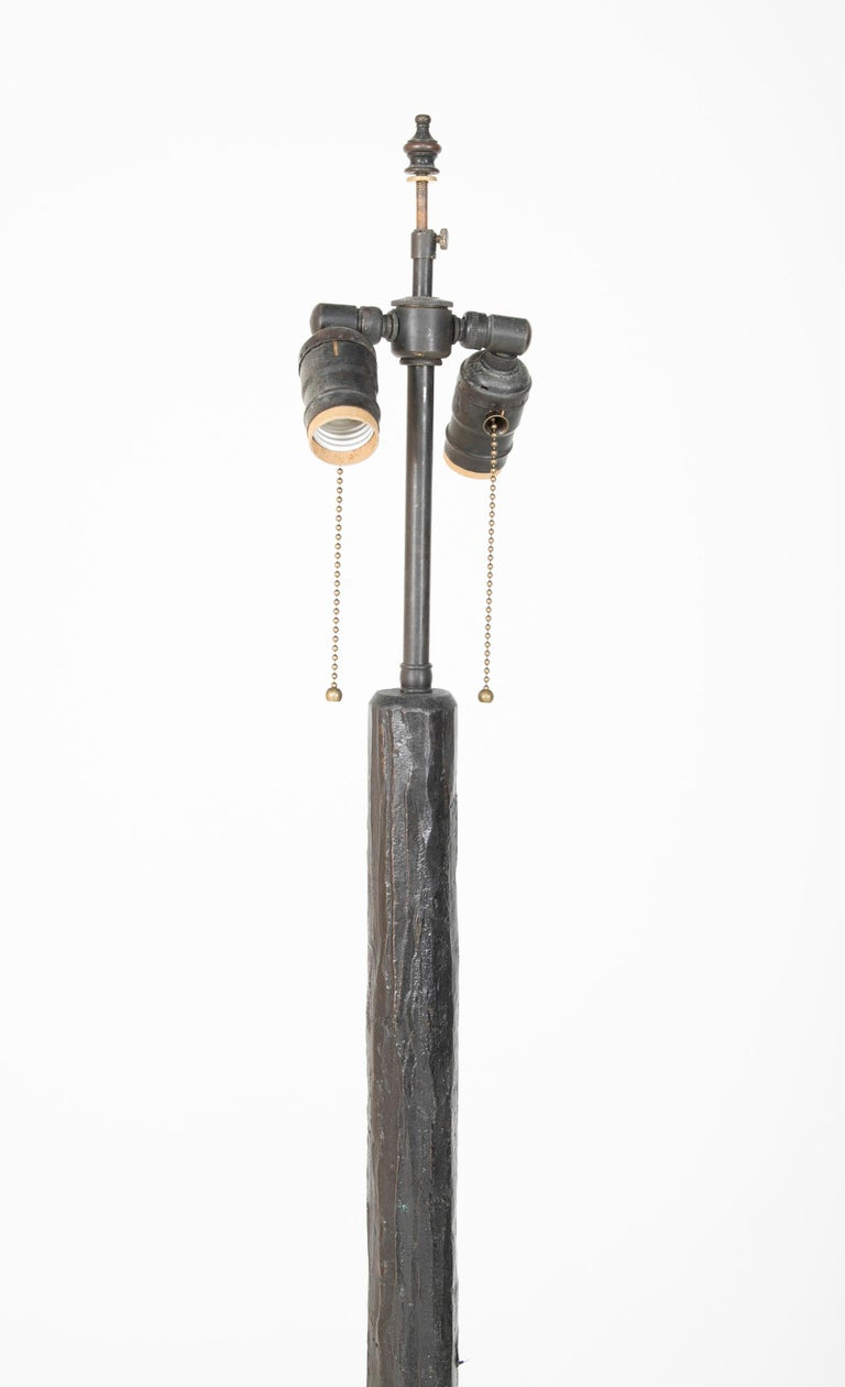 Patinated Bronze Floor Lamp in the Manner of Giacommeti In Good Condition For Sale In Stamford, CT