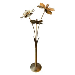 Patinated Italian Brass Flower Floor Lamp